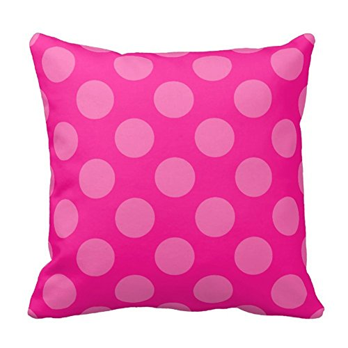 Pink Polka Dot Pattern in Hot Pink Pillow Case Decorative Cushion Covers Sofa Square