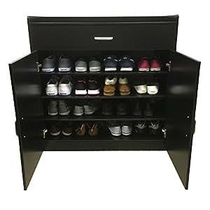 (Black) - Redstone Black Shoe Storage Cabinet Rack Cupboard - 4 Shelves + 1 Drawer - Wooden Sideboard