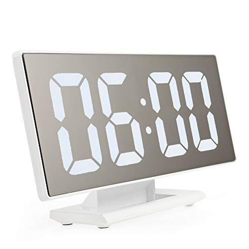 BELIEVE-IN LED Alarm Clock Easy-Read Large Display,Mirror Su