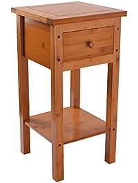 Unicoo Bamboo Compact Coffee Table Bedside Nightstand Bedroom Living Room Sofa Side End Table