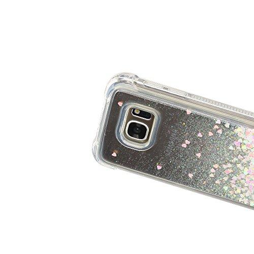 Funda para Samsung S7 Edge, Caselover 3D Bling Silicona TPU Arena Movediza Lentejuelas Carcasa para Samsung Galaxy S7 Edge G935 Glitter Líquido Brillar Cristal Sparkle Protección Caso Suave Transparen Rosa claro