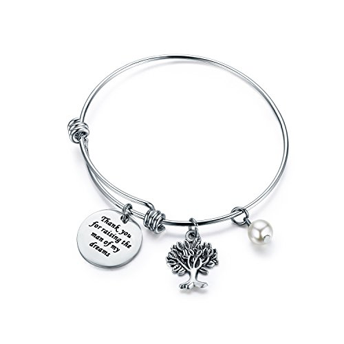 CJ&M Mother in Law Gift Family Tree Bracelet - Thank You for Raising The Man/I Will Take Care of Her Always Bracelet (Thank-Raising-Bracelet)