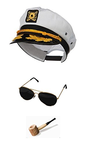 [White Sailor Ship Yacht Captain Hat Corn Cob Pipe Aviator Sunglasses Costume Set] (Ship Captain Costumes)