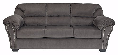 Ashley Furniture Signature Design - Kinlock Polyester Uphostered Full Size Sofa Sleeper with Nailhead Trim - Contemporary - Charcoal