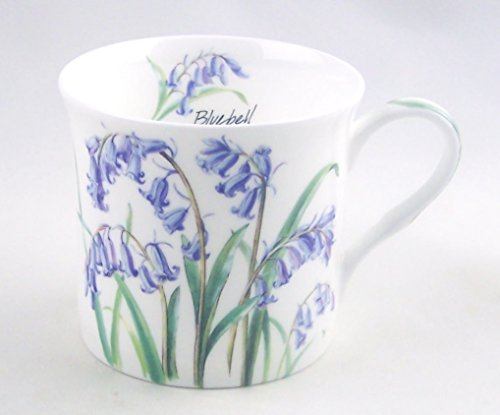 Tall Fine Porcelain - Heath McCabe Fine English Bone China Mug - Bluebell Chintz - 12 Ounce