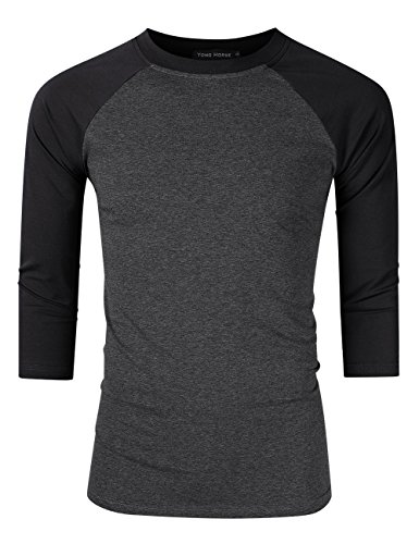 Mens 3/4 Sleeve Crew Neck Raglan Baseball Jersey Grey And Black Sleeve ()