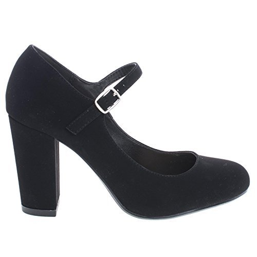 City Classified Comfort Nola Women's Closed Toe Ankle Strap Block Heel (7 M US, Black) ()