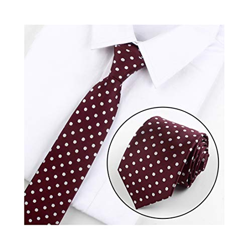 Mens Burgundy Red Polka Dot Silk Cravat Woven Business Formal Work Ties for Gift ()