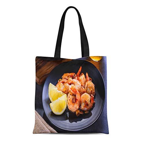 Semtomn Canvas Tote Bag Shoulder Bags Orange Appetizer Skillet Roasted Jumbo Shrimp on Black Plate Women's Handle Shoulder Tote Shopper Handbag