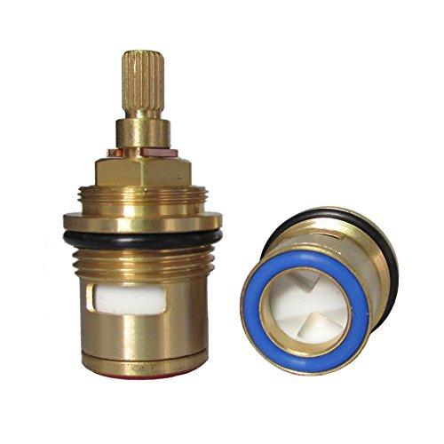 Huashan Pair of Replacement Brass Ceramic Disc Stem Cartridge Faucet Valve Quarter Turn 3/4