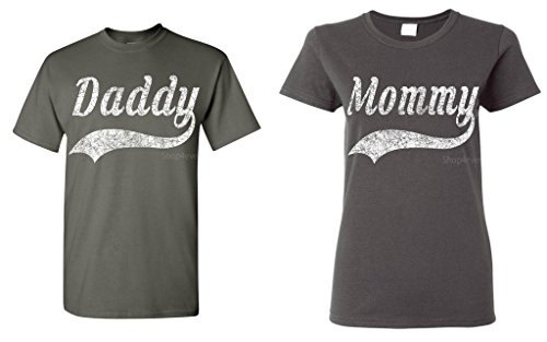 (Shop4Ever Daddy - Mommy Baseball Couples Matching T-Shirts - Men Large Charcoal//Women Large Charcoal)