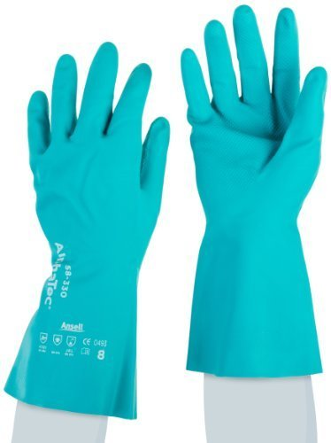 Ansell AlphaTec 58-330 Nitrile Medium Duty Chemical Immersion Glove, Chemical Resistant, 26 mil Thickness, 12 Length, Size 8, Sea Green (Pack of 12 Pair) by Ansell