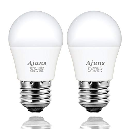 LED Refrigerator Light Bulb, 40W Equivalent 120V Refrigerator Freezer Waterproof Light Bulb, Used for Home Lighting Such as Freezer, Kitchen, Bathroom, etc. Non-dimmable E26 5W White 5000K 2pack (Refrigerator Bulb Led)