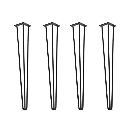 Patas de mesa x4, patas de muebles de horquilla: soldadura de acero de alta calidad, patas de reemplazo de muebles, tornillos de montaje y alfombrillas antideslizantes, no oxidados/Negro / 75c