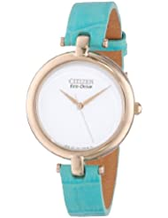 Citizen Womens EM0253-20A Silhouette Rose Gold-Tone Watch with Blue Leather Strap
