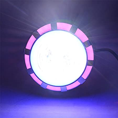 Pink//Blue Andux Dual Aperture Hi//Low Beam LED Projector Headlight For Motorcycle Angel Eyes Devil Eyes Halo EMY-02