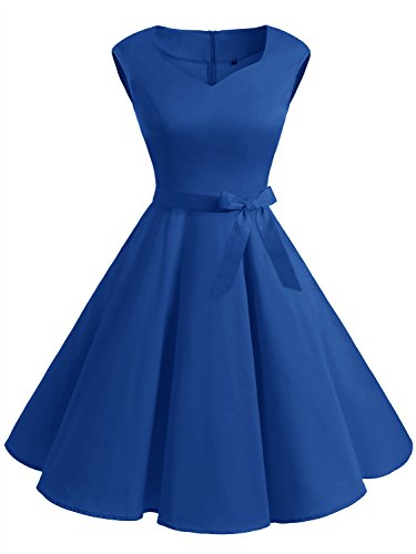 IVNIS Women's Vintage 1950s Semi Fixed Belt Rockabilly Swing Dresses With Pockets Royalblue - 1950 Vintage