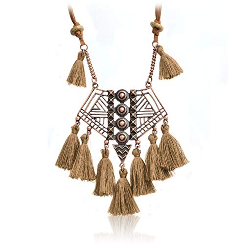 (Hollow Geometry Bohemian Pendant Necklace Black Grey Brown Green Pink Blue Wool Tassels Ethnic Sweater Chian brown)