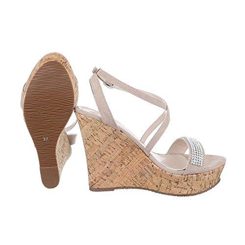 Ital-Design Keilsandaletten Damen Schuhe Plateau Keilabsatz/Wedge Keilabsatz Schnalle Sandalen/Sandaletten Beige