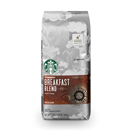Starbucks Breakfast Blend Medium Roast Ground Coffee  20 Ounce Bag