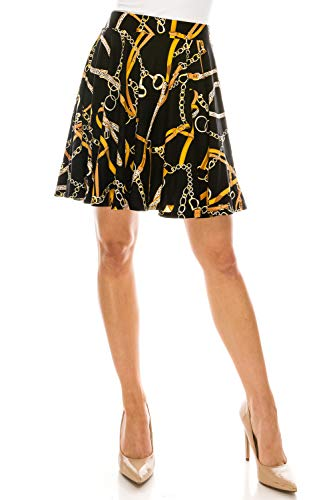 (MoDDeals Skirts for Women, Mini, Skater, Flared, Mid Length, Stretchy, Casual, Dressy Knitted & Floral Prints (Medium, Black Chain Print))