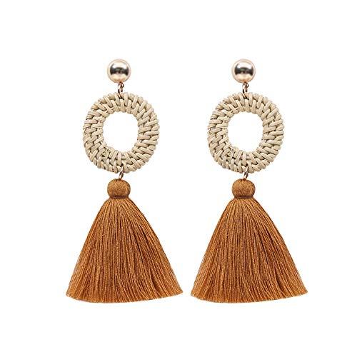 jiemi Bohemian Earrings European and American Explosions Exaggerated Handmade Rattan Tassel Earrings (Brown)