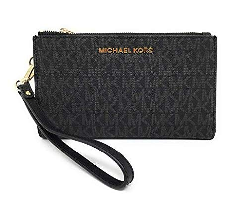 Michael Kors Jet Set Travel Double Zip Wristlet - Signature PVC (Black with Gold Hardware) (Michael Kors Jet Set Monogram Signature Tote)