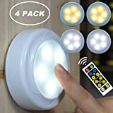 WRalwaysLX 4 Pack Remote Control LED cabinet push light Cool/Warm Adjustable Night Light, Operates On 3x1.5V AA batteries (Not Included) for Kitchen Under Cabinet Lighting,Closets, Cabinets, Counters.