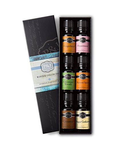 Winter Set of 6 Premium Grade Fragrance Oils - Cinnamon, Gingerbread, Sugar Cookies, Harvest Spice, Peppermint, Christmas Wreath - 10ml (Winter Scents)
