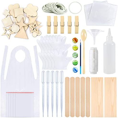 Sntieecr 174 Pieces Tie Dye Kit T-Shirt Fabric Tie-dye Tools Kits9 Sizes Wood Chips Rubber Bands Gloves Sealed Bags Squeeze Bottles Aprons and Tools for Kids Adult Party Groups