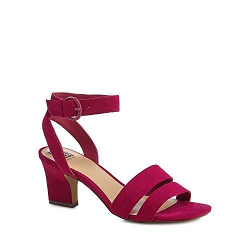 Debenhams Dark Pink Suedette 'Centro' Mid Block Heel Wide Fit Ankle Strap Sandals 4XS2dJ