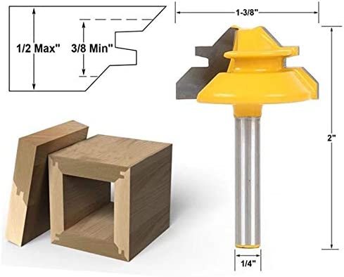 Holz Router Bit, 45 Grad-Lock-Mitre Fräser 1/4 Zoll Schaft, Profi Holzbearbeitungswerkzeug, for gewerblichen Anwender und Anfänger (04.01 * 1-3/8)