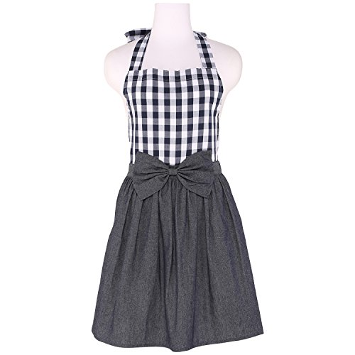 NEOVIVA Denim Kitchen Aprons for Women with Pockets, Server Aprons for Waitress in Vintage Stores, Style Tiffany, Checked Navy