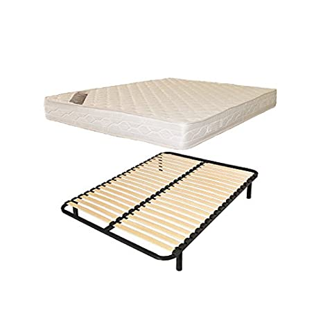 france-matelas Cama 1 Personas 140 x 190 somier Listones + colchón Confort: Amazon.es: Hogar