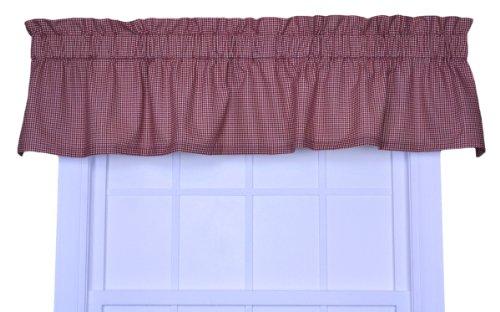 Logan Gingham Check Print TailoDeep red Valance Window Curtain, Deep red