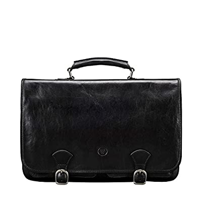 Maxwell Scott Great British Design, Luxury Handcrafted Italian Leather Satchel / Briefcase for Men (The Jesolo2) - One Size high-quality