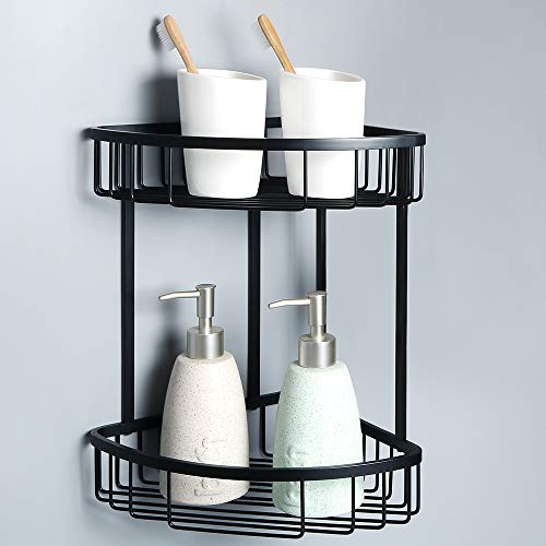Alise G7162-B SUS304 Stainless Steel Bathroom Shower Caddy 2-Tier Corner Basket Storage Shampoo Conditioner Soap-Satin Wall Mount,Matte Black