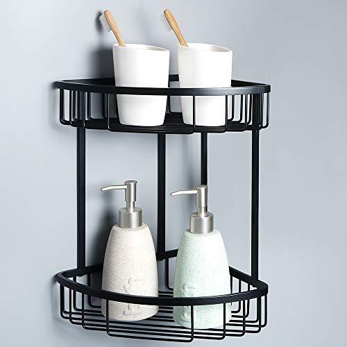 (Alise G7162-B SUS304 Stainless Steel Bathroom Shower Caddy 2-Tier Corner Basket Storage Shampoo Conditioner Soap-Satin Wall Mount,Matte Black )