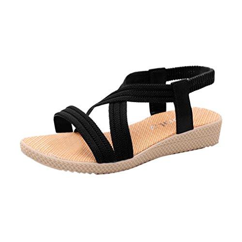 Sandalias, FAMILIZO Mujer Zapatos Planos Vendaje Bohemia Ocio Sandalias De SeñOra Peep-Toe Zapatos Al Aire Libre Negro