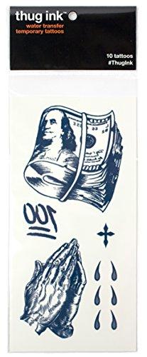 Thug Ink Temporary Tattoos - 10 Temporary Tattoos ~ Teardrop, Cross, Praying Hands, etc. - Lil Wayne Costume