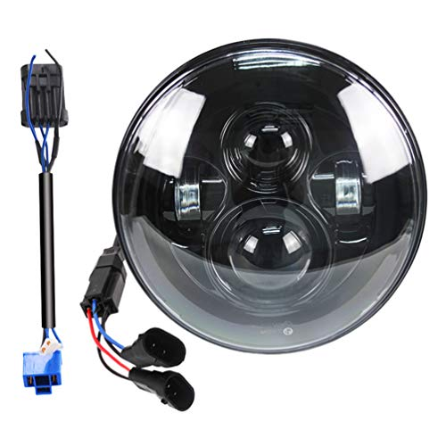Belt&Road 7 Inch Round Super White LED Headlight for 2014-2019 Harley Davidson Street Glide Special,Hi-Lo Beam Headlamp With Dual Beam Adapter,Black Housing
