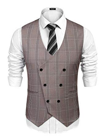 COOFANDY Men's Business Suit Vest Slim Fit Twill Dress Waistcoat for Wedding Party Dinner
