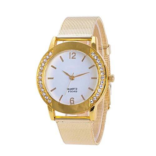 (Dressin 2019 Fashion Watch Luxury Women Watches Women Bracelet Watch with Thin Band,Gold and White Personality Design Quartz Watch,Rhinestone Luminous Number Watch )