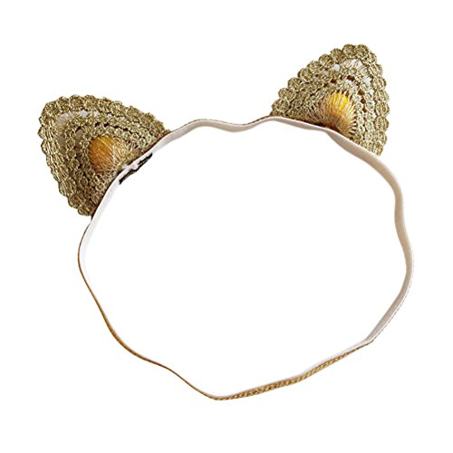 Fmeida Baby Girls Headband with Cat Ear Princess Flower Crown Cute Hair Band for Infant Birthday Girl Outfit -