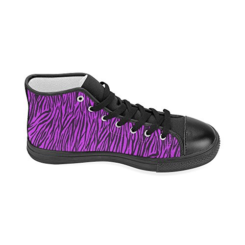 D-Story Custom Purple Zebra Stripes Womens Classic High Top Canvas Shoes (Model 017) Nbw9B