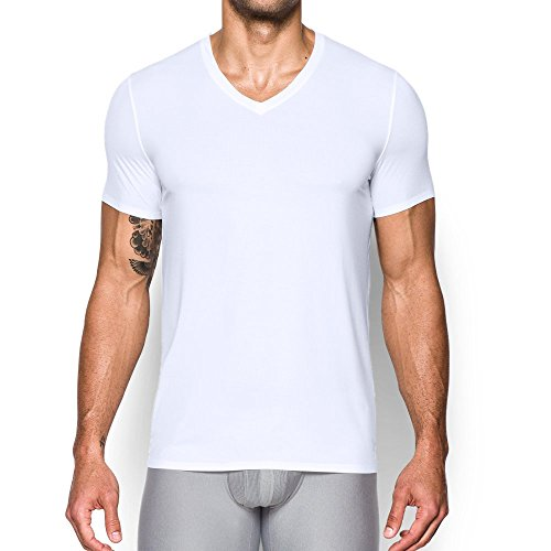 - Under Armour Men's ArmourVent Mesh Series V-Neck Undershirt,White /Elemental, Large