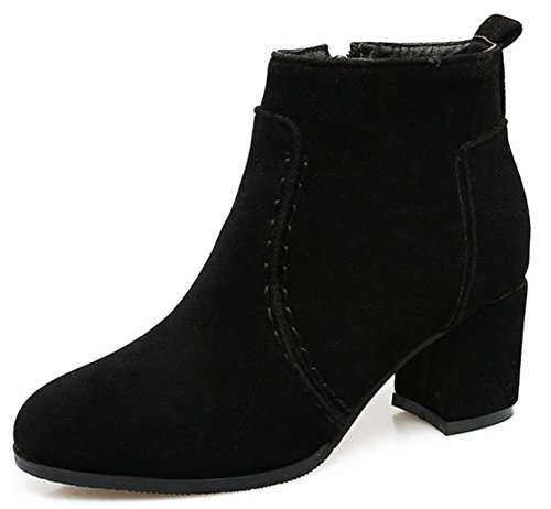 IDIFU Womens Dressy Chunky Mid Heeled Round Toe Faux Suede Ankle High Booties With Zipper Black ZQZPlkbxYN