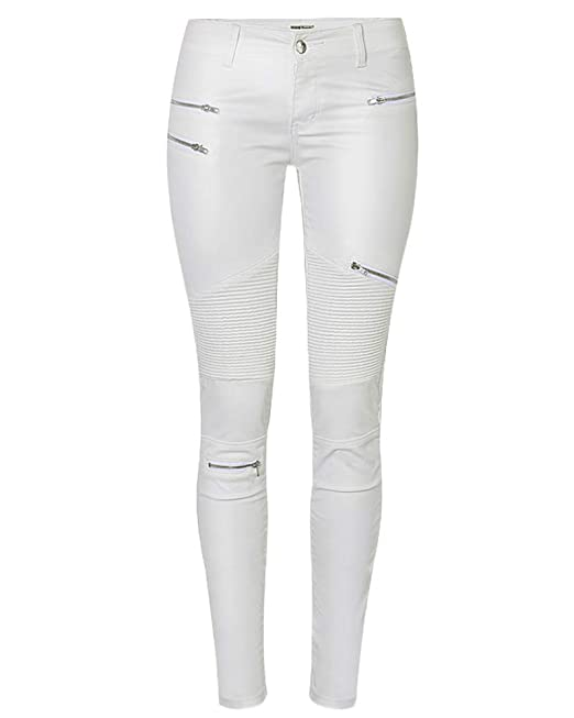 QitunC Damen Kunstleder Hose Leggings Biker Hosen Niedrige Taille PU Coated  Stretch Skinny Jeans Weiß 44 2c2f309b25