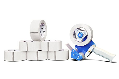 72 Rolls Carton Sealing Colored Packing Shipping Tape White 2'' 55 Yards 2 Mil With Free Dispenser by PackagingSuppliesByMail