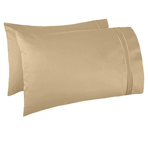 (Nestl Bedding Set of 2 Premium Pillowcases - Luxury Super Soft 100% Double Brushed Microfiber, Hypoallergenic & Breathable Design, Soft & Comfortable Hotel Luxury - King - Camel Gold)